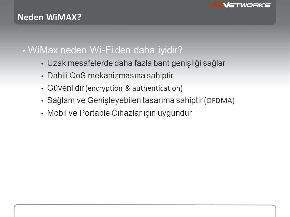 Neden WiMAX? • WiMax neden Wi-Fi den daha iyidir? • Uzak mesafelerde daha fazla bant genişliği sağlar • Dahili QoS mekanizmasına sahiptir • Güvenlidir