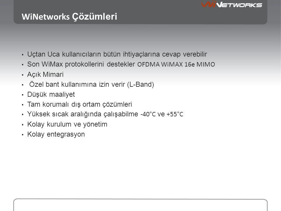 WiNetworks Çözümleri • Uçtan Uca kullanıcıların bütün ihtiyaçlarına cevap verebilir • Son WiMax protokollerini destekler OFDMA WiMAX 16e MIMO • Açık Mimari • Özel bant kullanımına izin verir (L-Band) • Düşük maaliyet • Tam korumalı dış ortam çözümleri • Yüksek sıcak aralığında çalışabilme -40°C ve +55°C • Kolay kurulum ve yönetim • Kolay entegrasyon