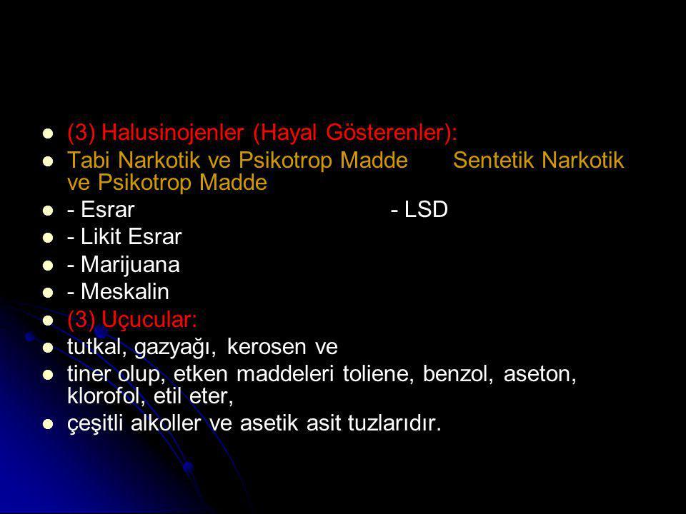   (3) Halusinojenler (Hayal Gösterenler):   Tabi Narkotik ve Psikotrop Madde Sentetik Narkotik ve Psikotrop Madde   - Esrar - LSD   - Likit Es