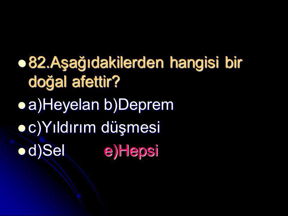  82.Aşağıdakilerden hangisi bir doğal afettir?  a)Heyelanb)Deprem  c)Yıldırım düşmesi  d)Sele)Hepsi