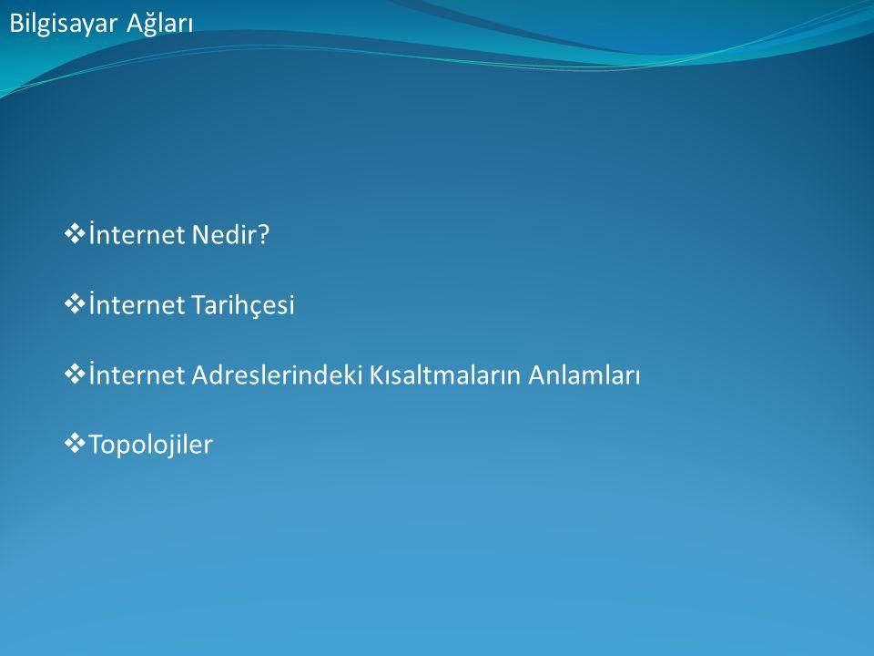 Bilgisayar Ağları  İnternet Nedir?  İnternet Tarihçesi  İnternet Adreslerindeki Kısaltmaların Anlamları  Topolojiler