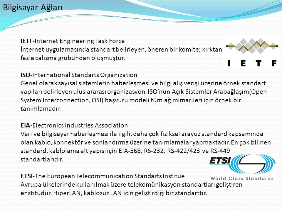 Bilgisayar Ağları IETF-Internet Engineering Task Force İnternet uygulamasında standart belirleyen, öneren bir komite; kırktan fazla çalışma grubundan