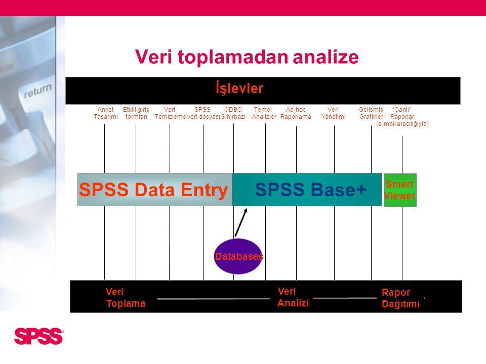 """""""Canlı"""" Raporlar (e-mail aracılığıyla) Smart Viewer Veri Analizi Rapor Dağıtımı Veri Toplama Anket Tasarımı Etkili giriş formları Veri Temizleme SPSS"""