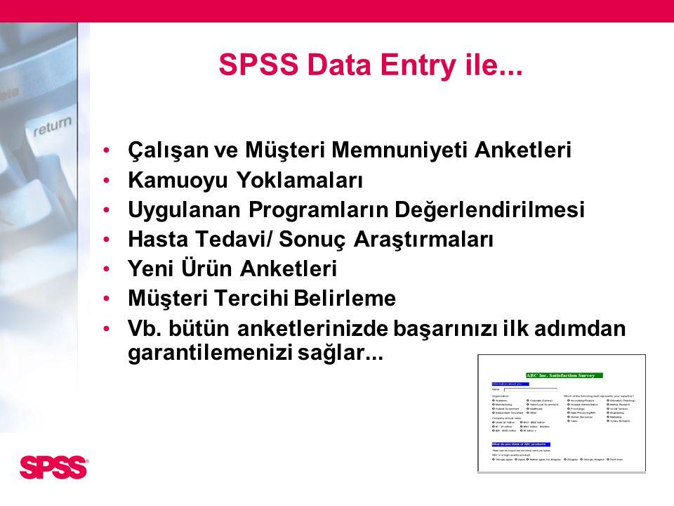 SPSS Data Entry ile... • Çalışan ve Müşteri Memnuniyeti Anketleri • Kamuoyu Yoklamaları • Uygulanan Programların Değerlendirilmesi • Hasta Tedavi/ Son