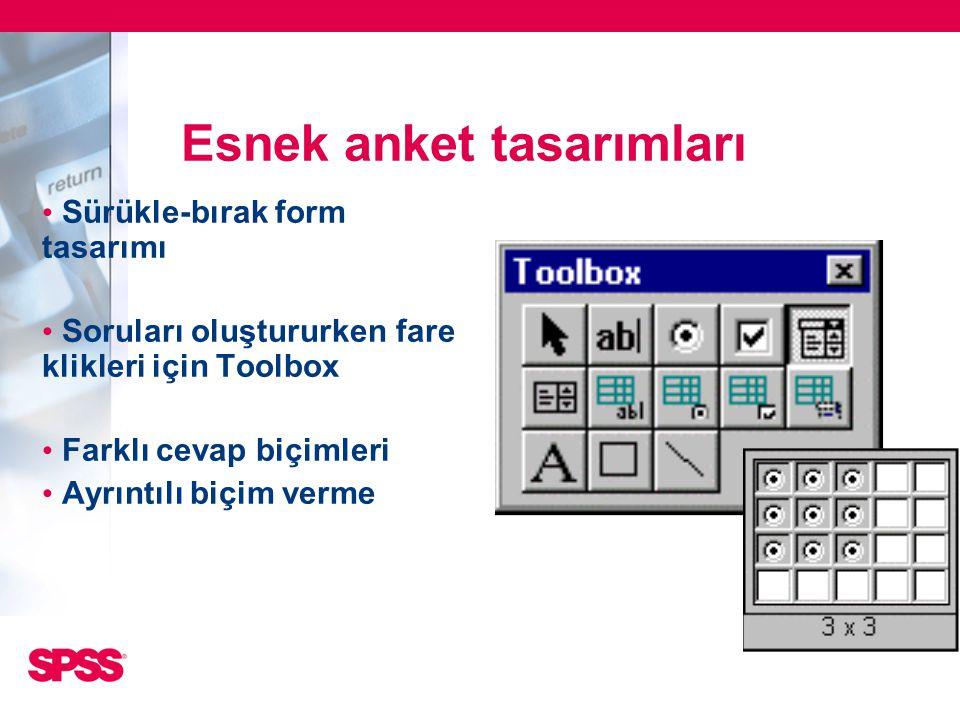 • Sürükle-bırak form tasarımı • Soruları oluştururken fare klikleri için Toolbox • Farklı cevap biçimleri • Ayrıntılı biçim verme Esnek anket tasarıml