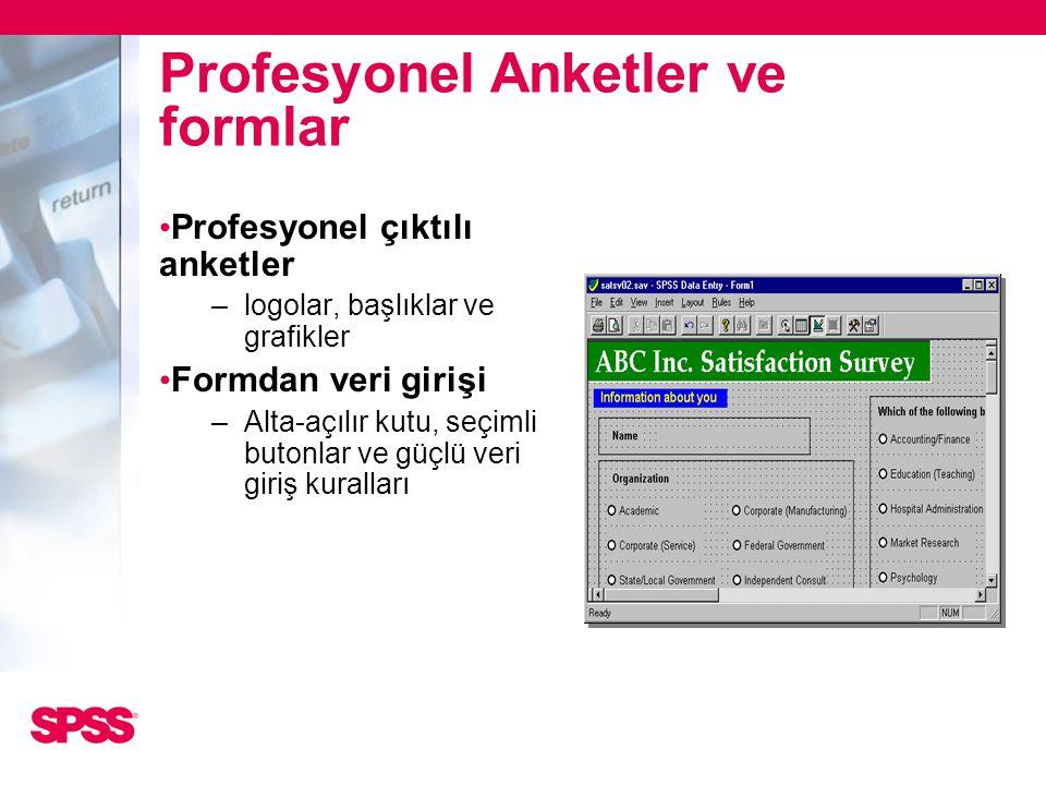Profesyonel Anketler ve formlar • Profesyonel çıktılı anketler –logolar, başlıklar ve grafikler • Formdan veri girişi –Alta-açılır kutu, seçimli buton