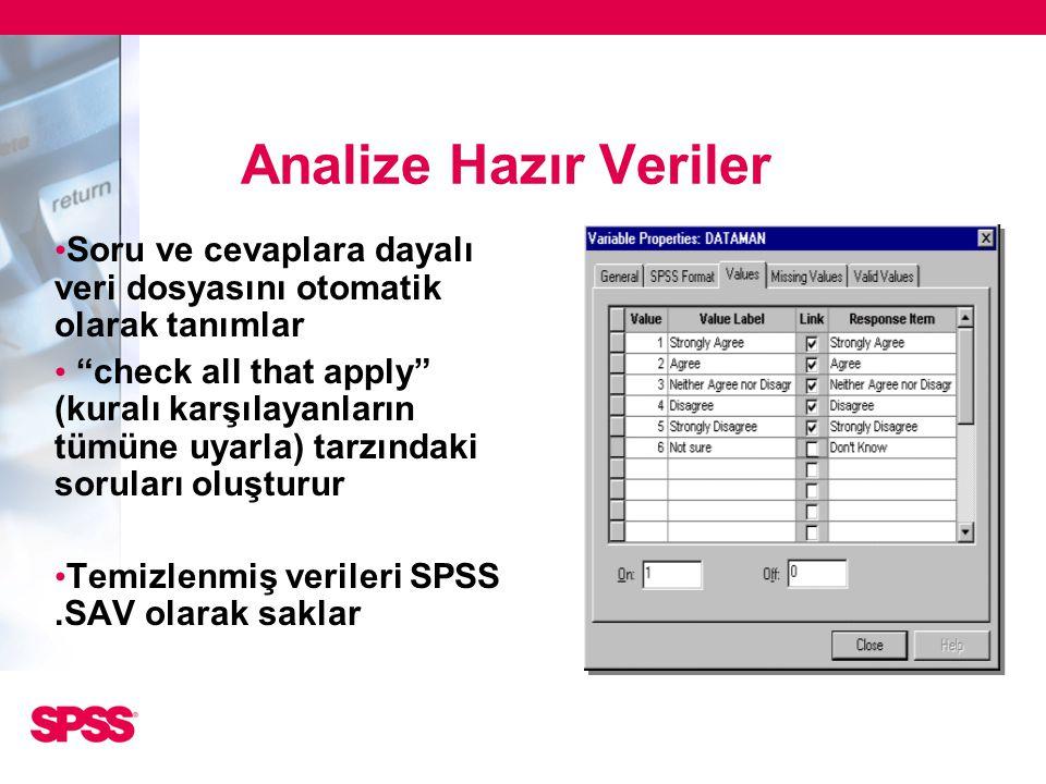 """Analize Hazır Veriler • Soru ve cevaplara dayalı veri dosyasını otomatik olarak tanımlar • """"check all that apply"""" (kuralı karşılayanların tümüne uyarl"""