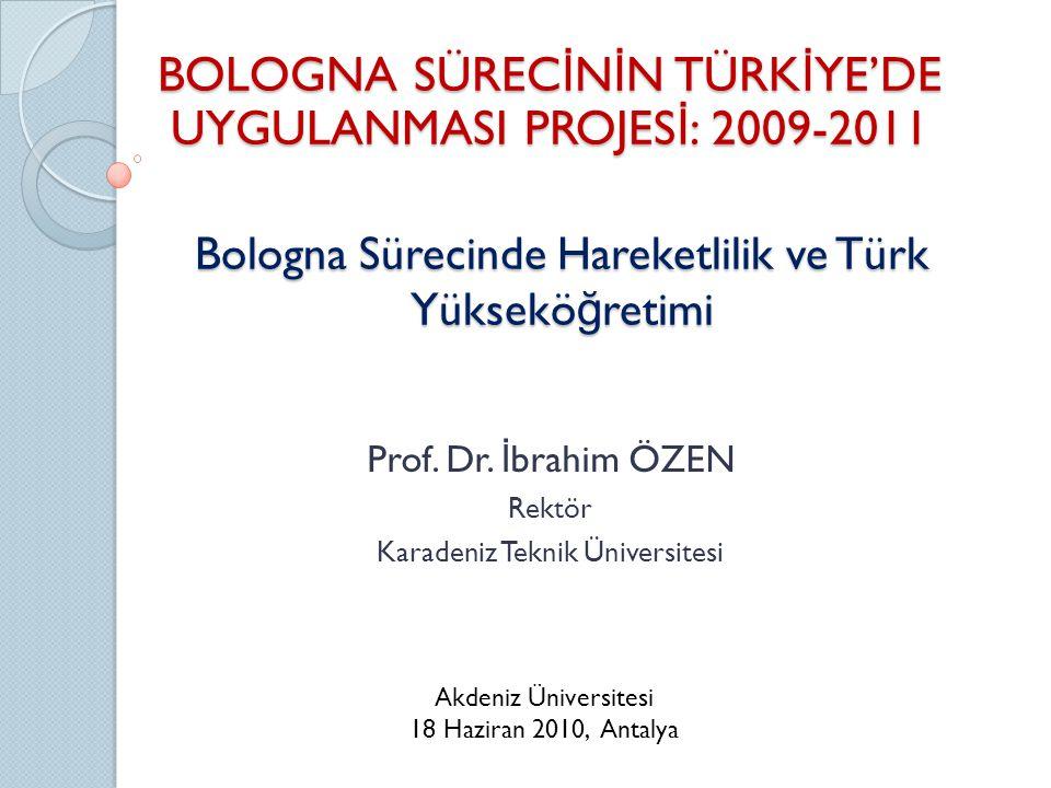 Bologna Sürecinde Hareketlilik ve Türk Yüksekö ğ retimi Prof.