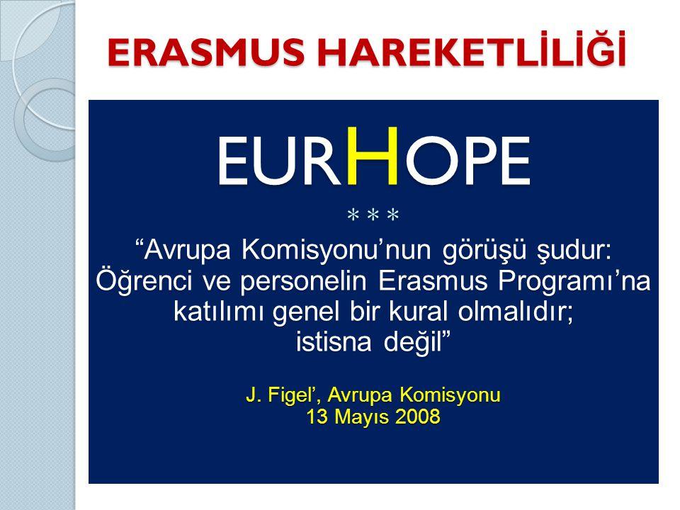 ERASMUS HAREKETL İ L İĞİ EUR H OPE * * * Avrupa Komisyonu'nun görüşü şudur: Öğrenci ve personelin Erasmus Programı'na katılımı genel bir kural olmalıdır; istisna değil J.