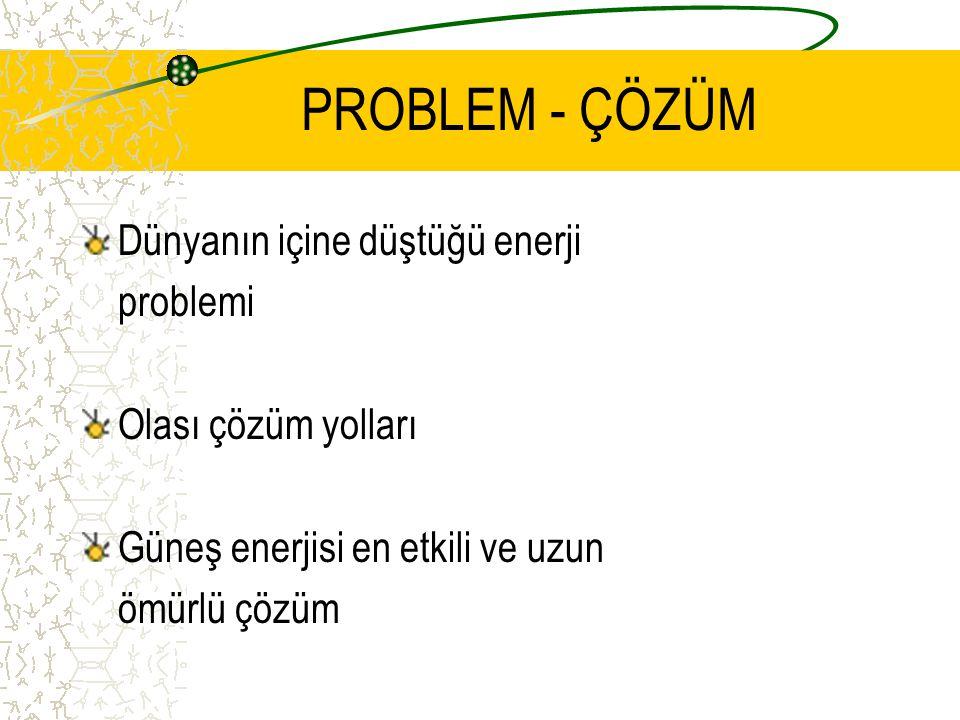 PROBLEM - ÇÖZÜM Dünyanın içine düştüğü enerji problemi Olası çözüm yolları Güneş enerjisi en etkili ve uzun ömürlü çözüm
