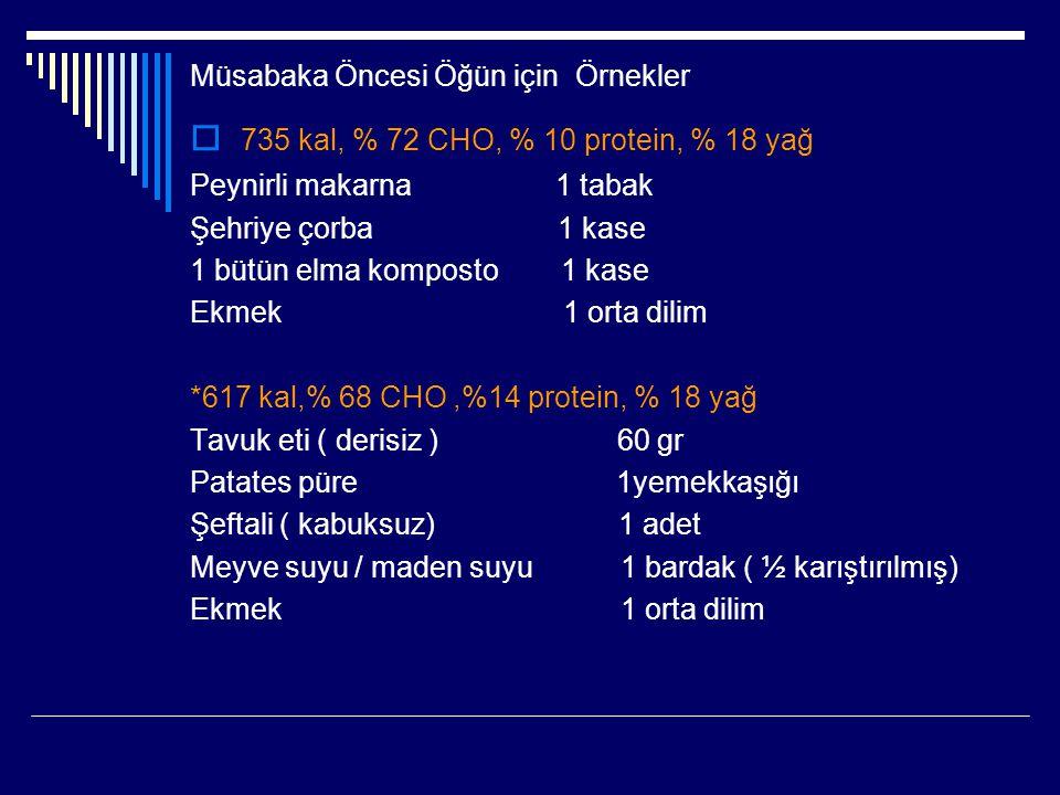 Müsabaka Öncesi Öğün için Örnekler  735 kal, % 72 CHO, % 10 protein, % 18 yağ Peynirli makarna 1 tabak Şehriye çorba 1 kase 1 bütün elma komposto 1 k