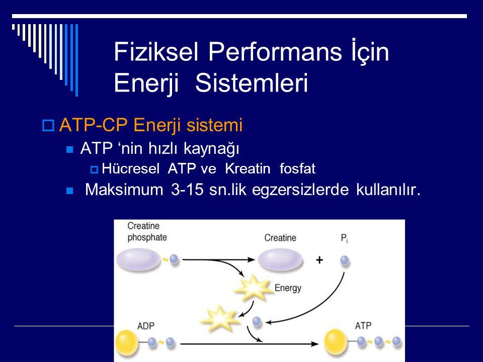 Fiziksel Performans İçin Enerji Sistemleri  ATP-CP Enerji sistemi  ATP 'nin hızlı kaynağı  Hücresel ATP ve Kreatin fosfat  Maksimum 3-15 sn.lik eg