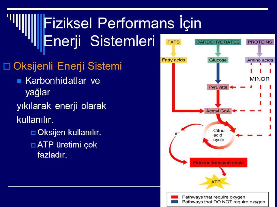 Fiziksel Performans İçin Enerji Sistemleri  Oksijenli Enerji Sistemi  Karbonhidatlar ve yağlar yıkılarak enerji olarak kullanılır.  Oksijen kullanı