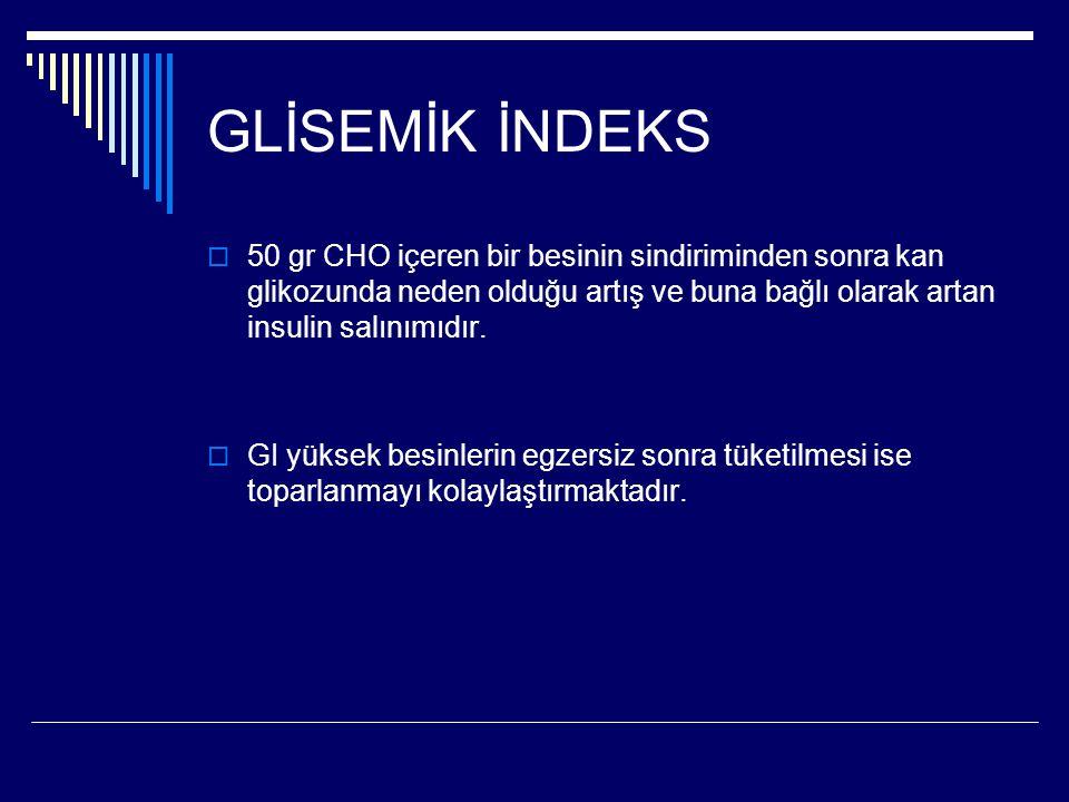 GLİSEMİK İNDEKS  50 gr CHO içeren bir besinin sindiriminden sonra kan glikozunda neden olduğu artış ve buna bağlı olarak artan insulin salınımıdır. 