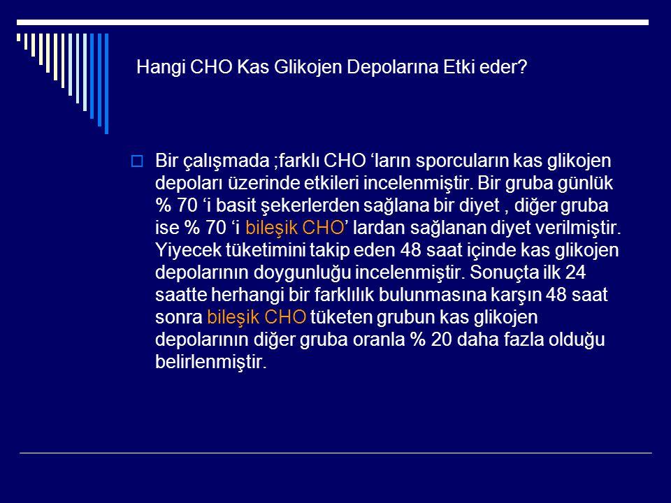 Hangi CHO Kas Glikojen Depolarına Etki eder?  Bir çalışmada ;farklı CHO 'ların sporcuların kas glikojen depoları üzerinde etkileri incelenmiştir. Bir