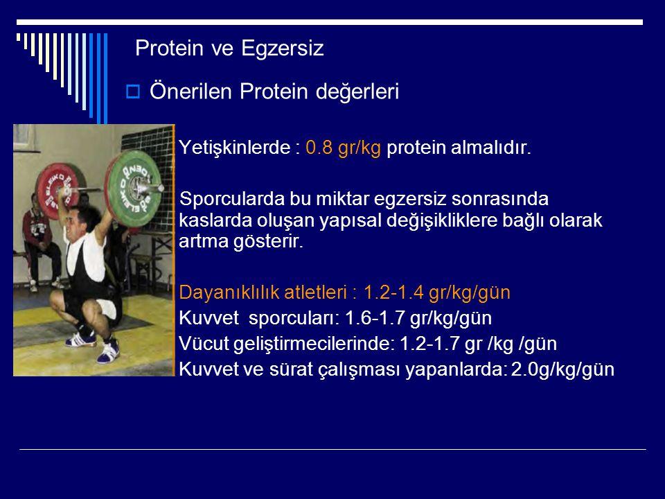 Protein ve Egzersiz  Önerilen Protein değerleri  Yetişkinlerde : 0.8 gr/kg protein almalıdır. Sporcularda bu miktar egzersiz sonrasında kaslarda olu