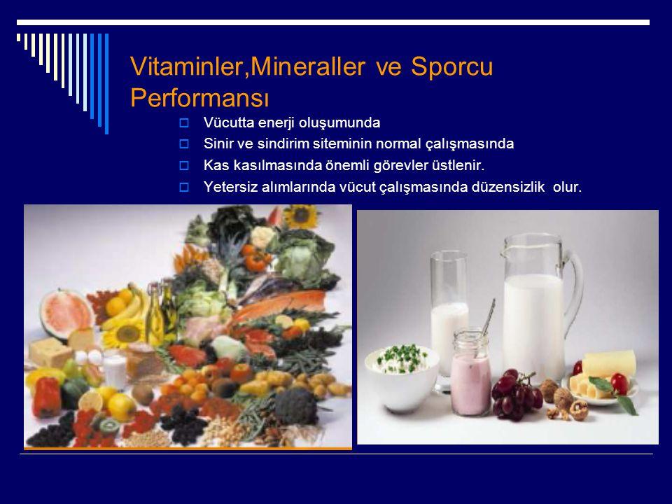 Vitaminler,Mineraller ve Sporcu Performansı  Vücutta enerji oluşumunda  Sinir ve sindirim siteminin normal çalışmasında  Kas kasılmasında önemli gö