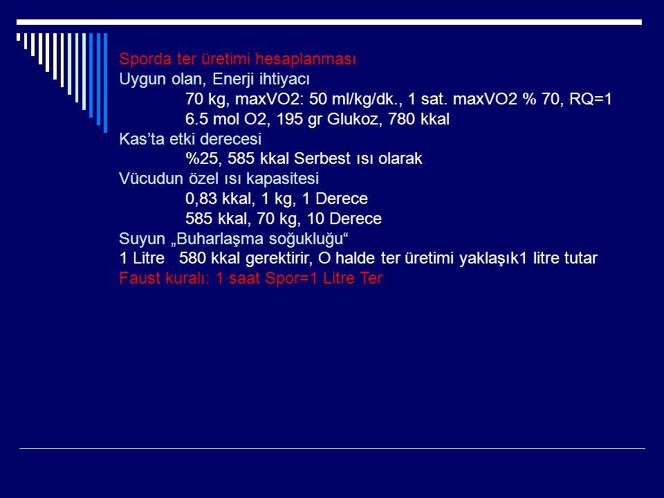 Sporda ter üretimi hesaplanması Uygun olan, Enerji ihtiyacı 70 kg, maxVO2: 50 ml/kg/dk., 1 sat. maxVO2 % 70, RQ=1 6.5 mol O2, 195 gr Glukoz, 780 kkal