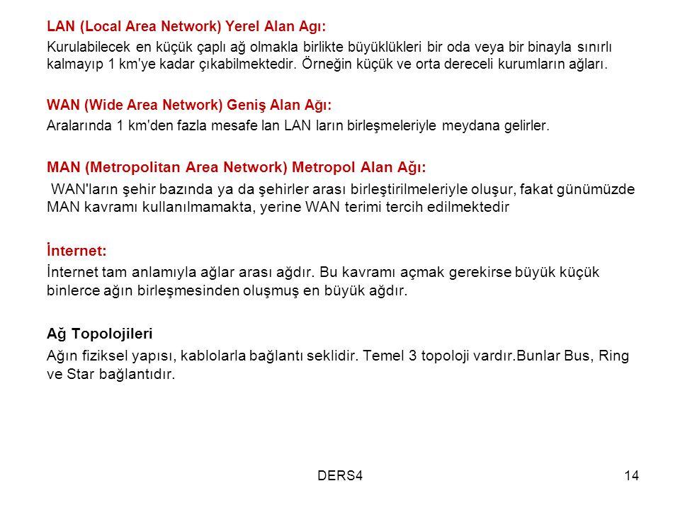 LAN (Local Area Network) Yerel Alan Agı: Kurulabilecek en küçük çaplı ağ olmakla birlikte büyüklükleri bir oda veya bir binayla sınırlı kalmayıp 1 km'