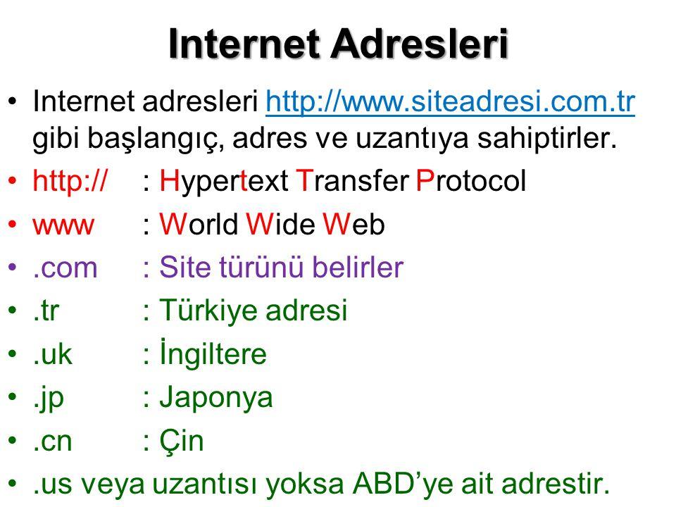 Internet Adresleri •Internet adresleri http://www.siteadresi.com.tr gibi başlangıç, adres ve uzantıya sahiptirler. •http://: Hypertext Transfer Protoc