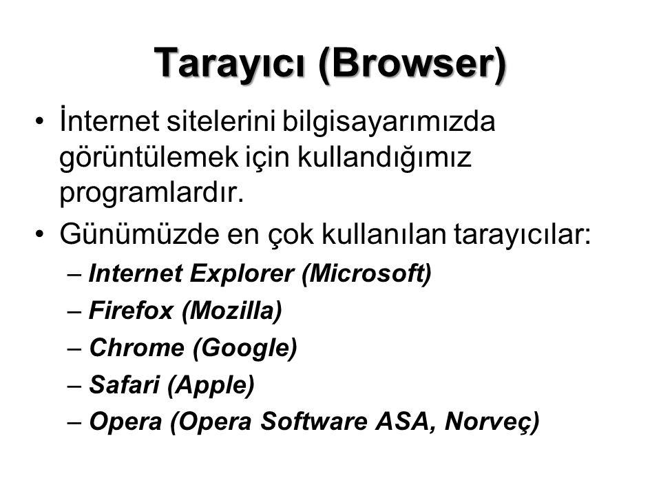 Tarayıcı (Browser) •İnternet sitelerini bilgisayarımızda görüntülemek için kullandığımız programlardır. •Günümüzde en çok kullanılan tarayıcılar: –Int