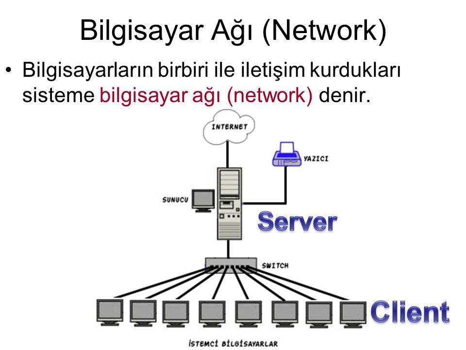 Bilgisayar Ağı (Network) •Bilgisayarların birbiri ile iletişim kurdukları sisteme bilgisayar ağı (network) denir.