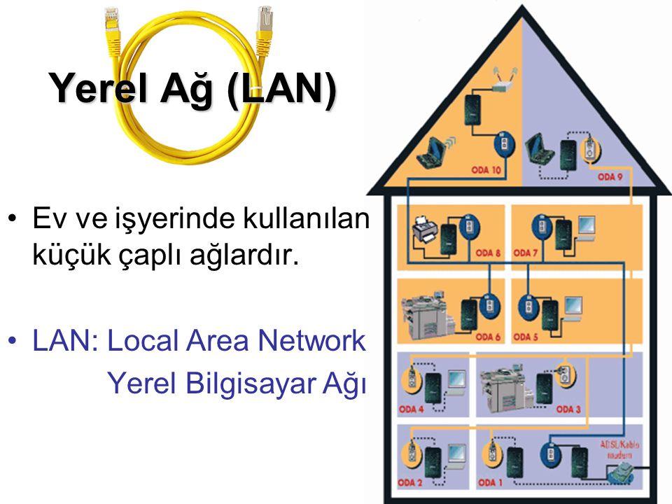 Yerel Ağ (LAN) •Ev ve işyerinde kullanılan küçük çaplı ağlardır. •LAN: Local Area Network Yerel Bilgisayar Ağı
