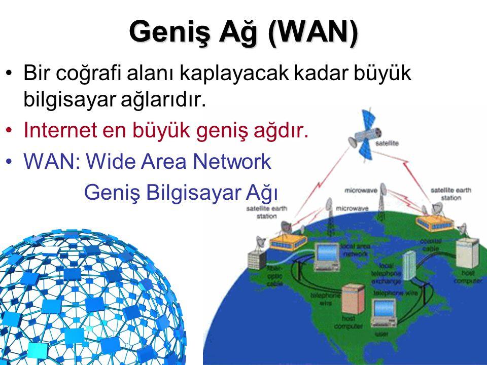 Geniş Ağ (WAN) •Bir coğrafi alanı kaplayacak kadar büyük bilgisayar ağlarıdır. •Internet en büyük geniş ağdır. •WAN: Wide Area Network Geniş Bilgisaya