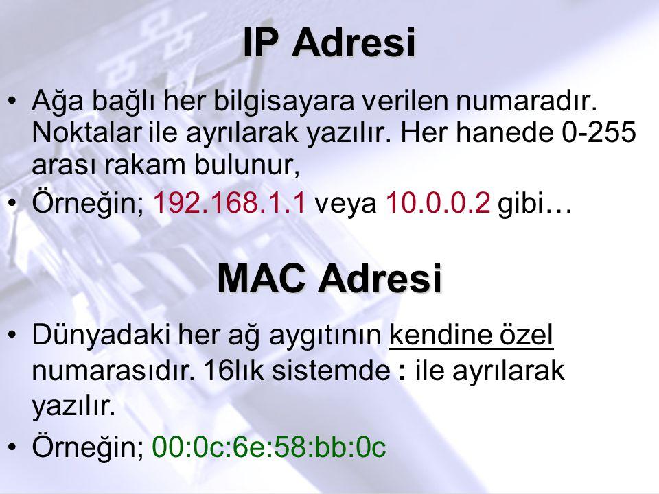 IP Adresi •Ağa bağlı her bilgisayara verilen numaradır. Noktalar ile ayrılarak yazılır. Her hanede 0-255 arası rakam bulunur, •Örneğin; 192.168.1.1 ve