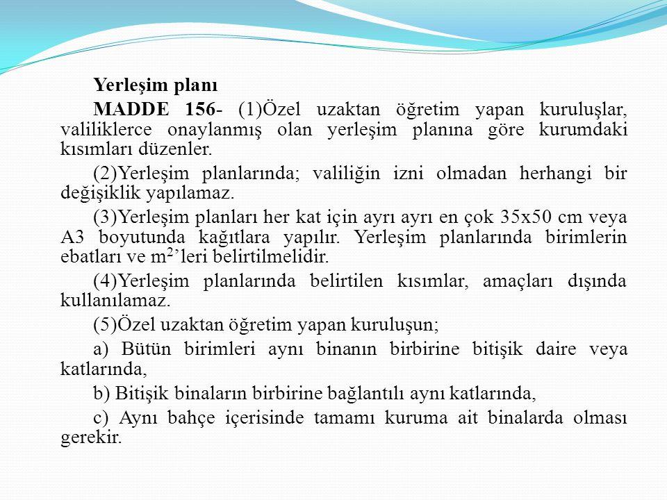 Yerleşim planı MADDE 156- (1)Özel uzaktan öğretim yapan kuruluşlar, valiliklerce onaylanmış olan yerleşim planına göre kurumdaki kısımları düzenler. (