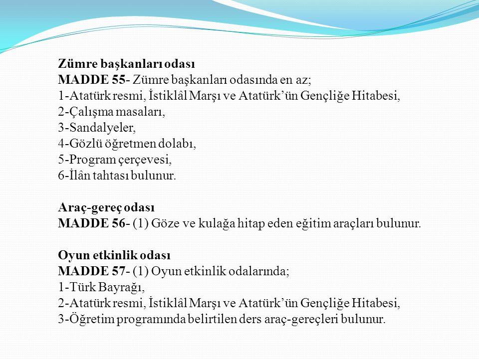 Zümre başkanları odası MADDE 55- Zümre başkanları odasında en az; 1-Atatürk resmi, İstiklâl Marşı ve Atatürk'ün Gençliğe Hitabesi, 2-Çalışma masaları,