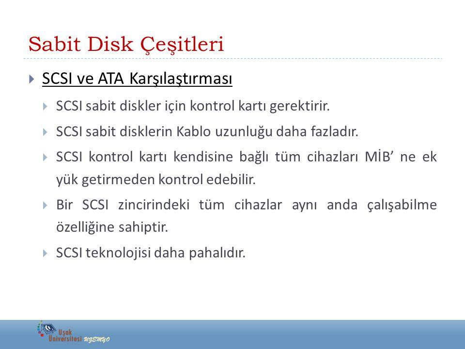 Sabit Disk Çeşitleri  SCSI ve ATA Karşılaştırması  SCSI sabit diskler için kontrol kartı gerektirir.