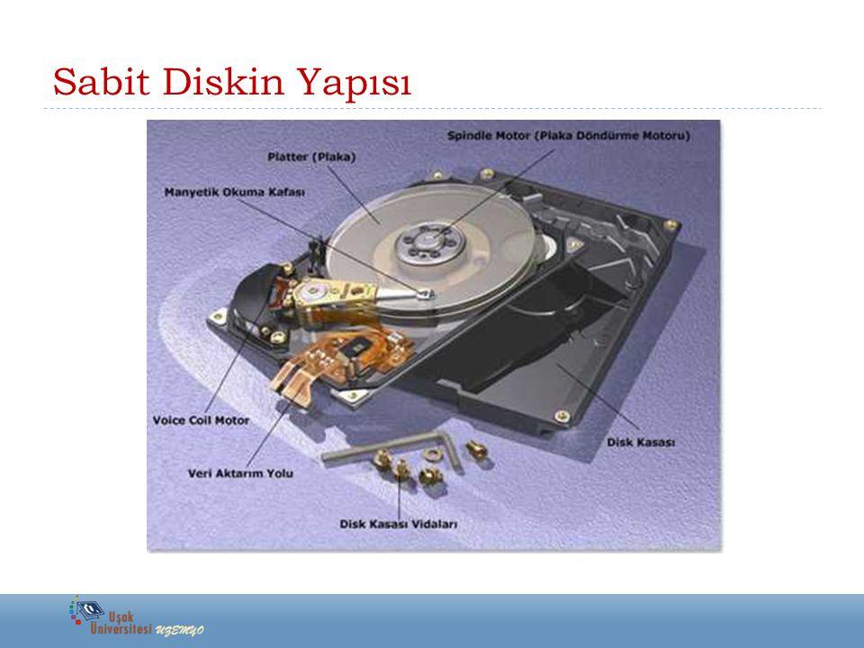 Sabit Disk Çeşitleri  SAS (Serial Attached SCSI)  SCSI'nin şu ana kadar anlatılan tüm versiyonları paralel veri iletimi gerçekleştirirken bu versiyonda seri iletim yapılmaktadır.