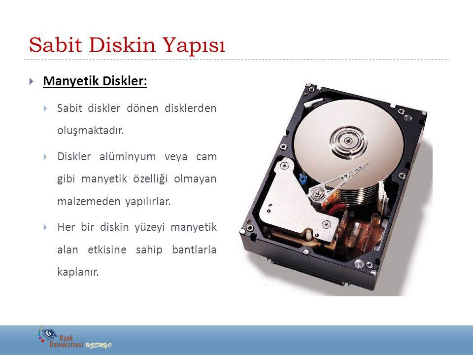 Sabit Diskin Yapısı  Manyetik Diskler:  Manyetik diskler iz (track) ve dilim (sector) denilen bölümlerden oluşur.