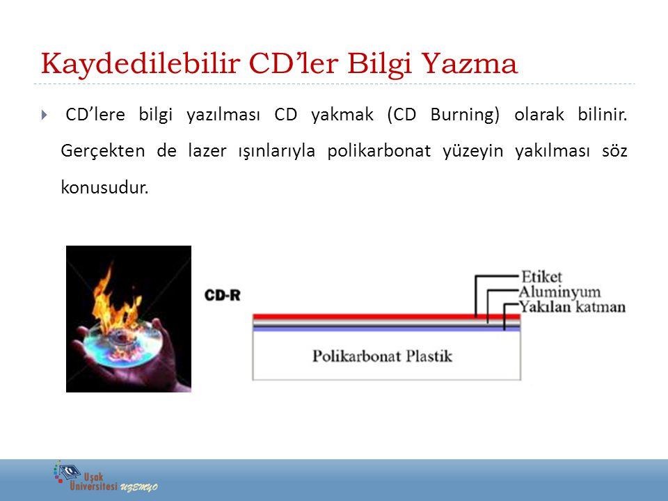 Kaydedilebilir CD'ler Bilgi Yazma  CD'lere bilgi yazılması CD yakmak (CD Burning) olarak bilinir.