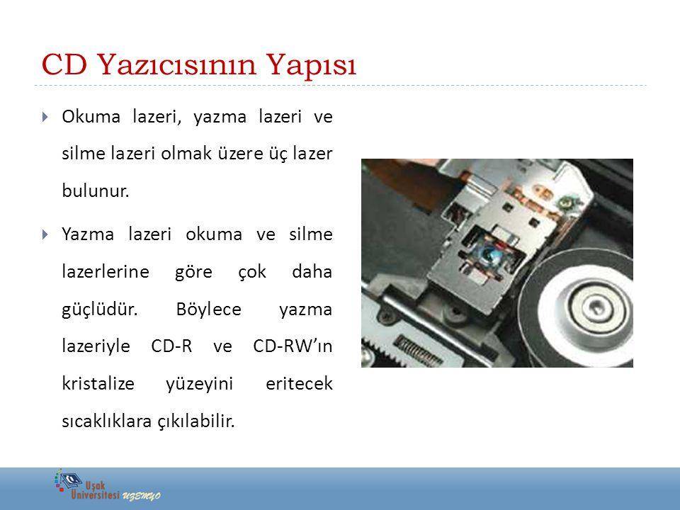 CD Yazıcısının Yapısı  Okuma lazeri, yazma lazeri ve silme lazeri olmak üzere üç lazer bulunur.
