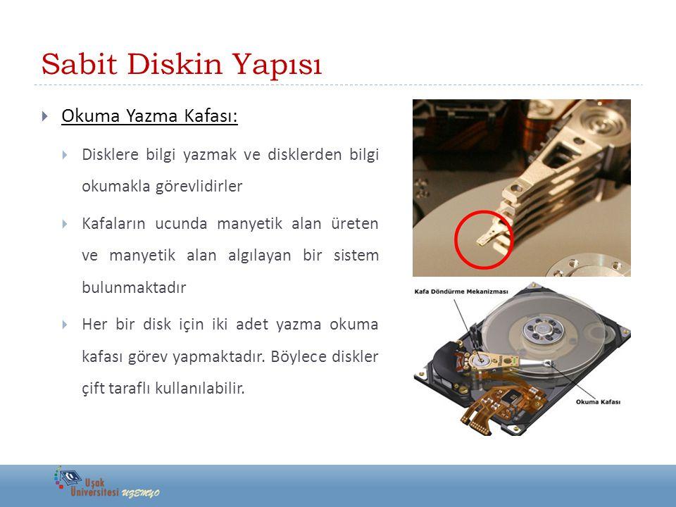 Sabit Diskin Yapısı  Kontrol Kartı:  Diskleri döndüren motorun hareketlerini, yazma/okuma kafalarını hareket ettiren taşıyıcı kolun hareketlerini ve yazma-okuma işlemini kontrol eden karttır.
