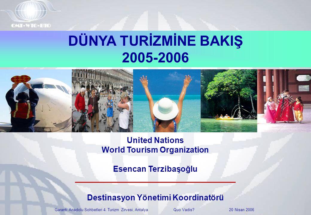 Garanti Anadolu Sohbetleri 4. Turizm Zirvesi, Antalya Quo Vadis? 20 Nisan 2006 DÜNYA TURİZMİNE BAKIŞ 2005-2006 United Nations World Tourism Organizati