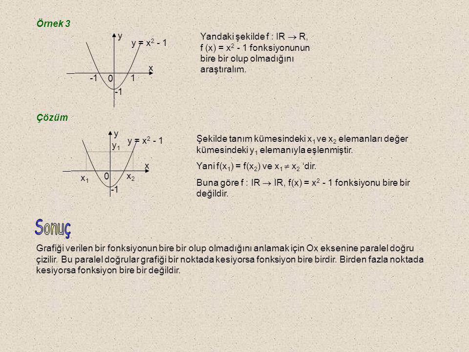 Örnek 1 f fonksiyonu 1-1 dir..1. 2. 3. a. b. c f AB g fonksiyonu 1-1 değildir..