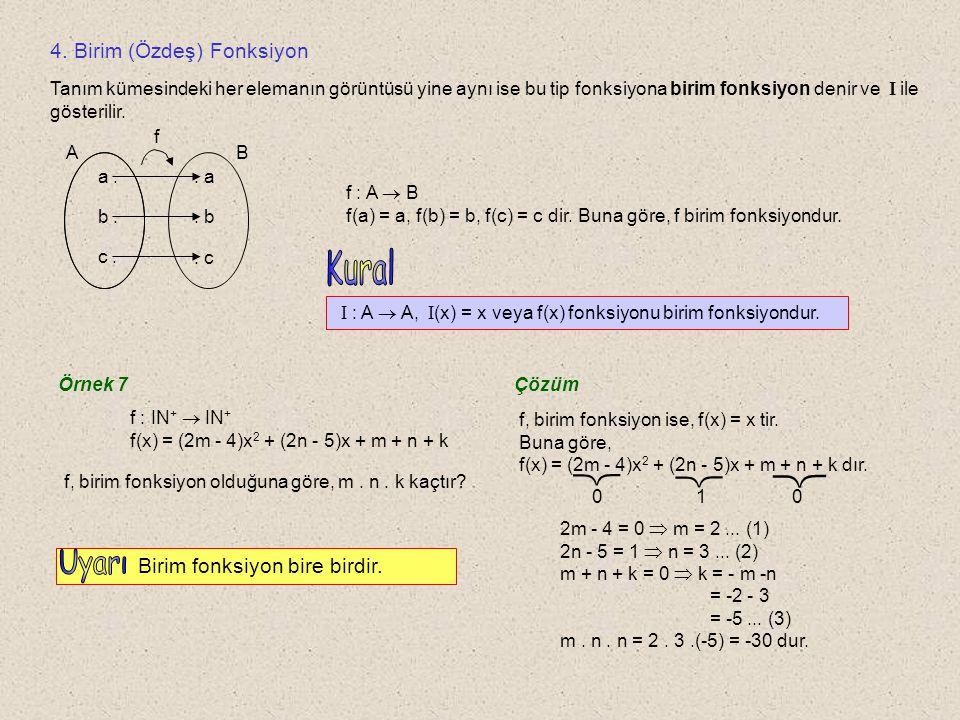 Örnek 6 Aşağıdaki grafikleri inceleyelim.1 0 x y y = f 1 (x) f 1 : IR  IR f 1, içinedir.