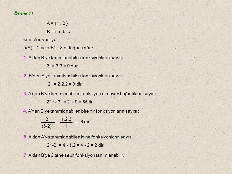 C.Fonksiyon Sayısı s(A) = m s(B) = n olsun. n. (n-m).