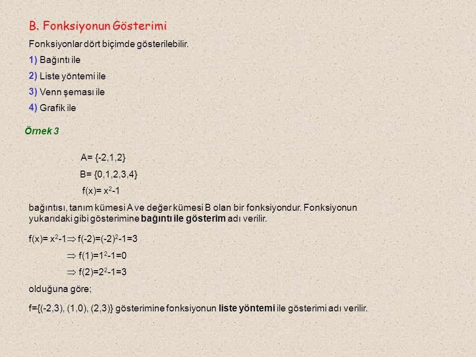 Örnek 3 A= {-2,1,2} B= {0,1,2,3,4} f(x)= x 2 -1 bağıntısı, tanım kümesi A ve değer kümesi B olan bir fonksiyondur.