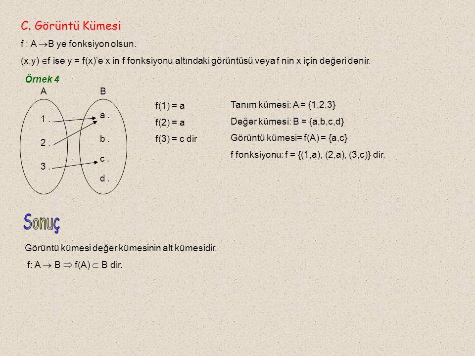 Örnek 16 A = { 0, 1, 2 } f : A  B, f(x) = 2x + 3 B = { 3, 5, 7 } g : B  C, g(x) = 2x + 1 C = { 7, 11, 15 } fonksiyonları verilsin.