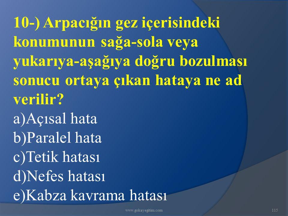 www.gokayegitim.com115 10-) Arpacığın gez içerisindeki konumunun sağa-sola veya yukarıya-aşağıya doğru bozulması sonucu ortaya çıkan hataya ne ad verilir.