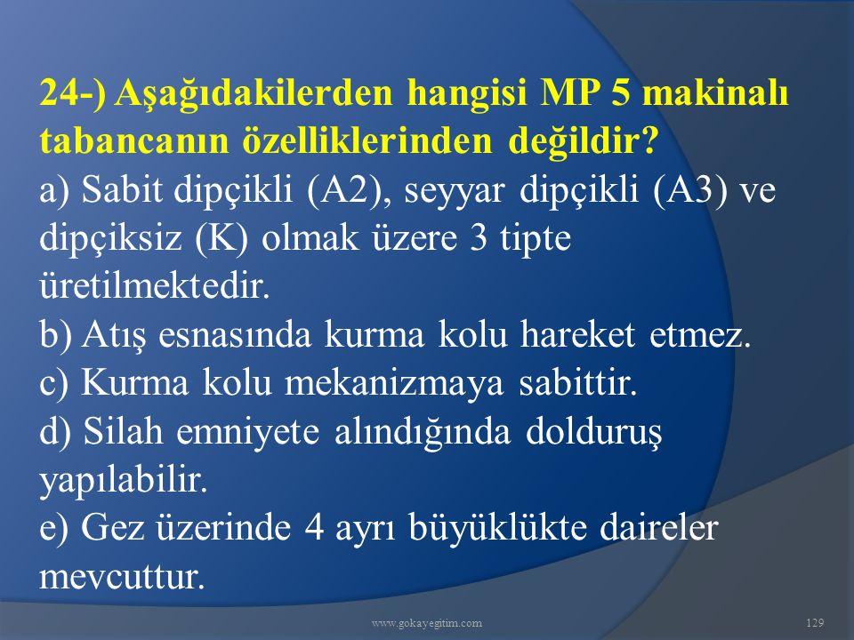 www.gokayegitim.com129 24-) Aşağıdakilerden hangisi MP 5 makinalı tabancanın özelliklerinden değildir.