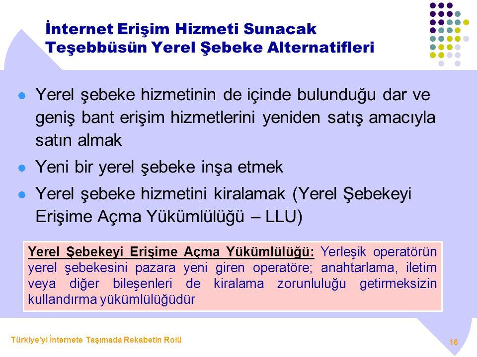 Türkiye'yi İnternete Taşımada Rekabetin Rolü 16 İnternet Erişim Hizmeti Sunacak Teşebbüsün Yerel Şebeke Alternatifleri  Yerel şebeke hizmetinin de iç