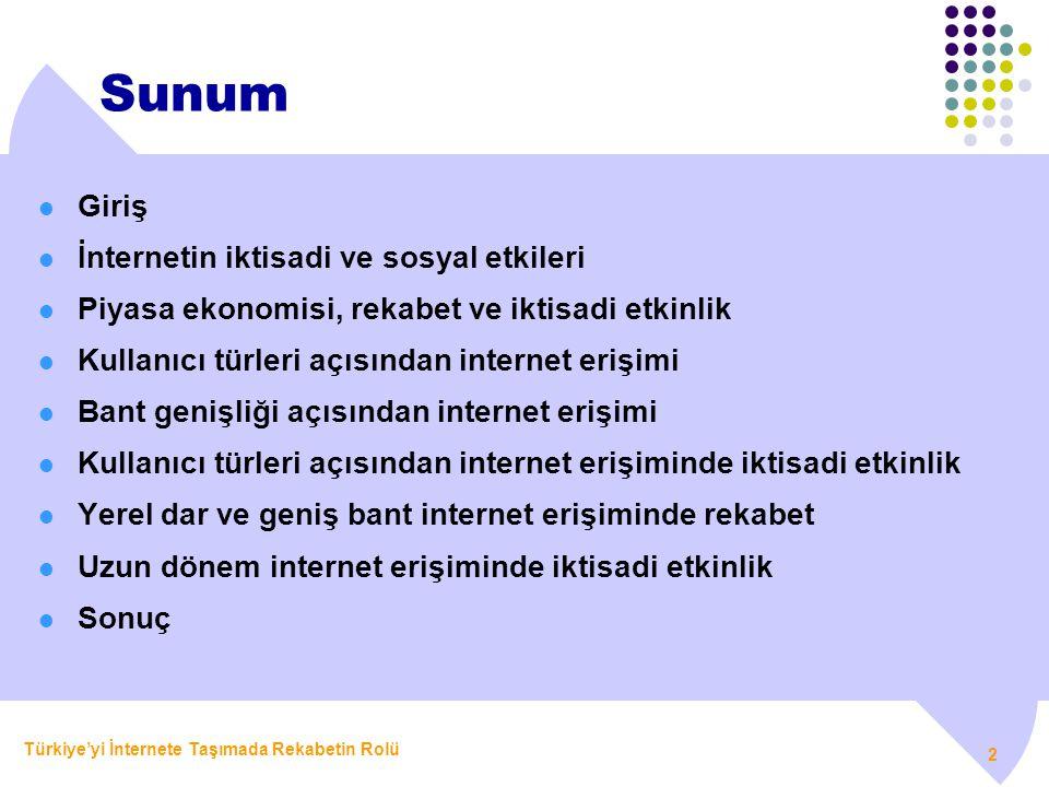 Türkiye'yi İnternete Taşımada Rekabetin Rolü 2 Sunum  Giriş  İnternetin iktisadi ve sosyal etkileri  Piyasa ekonomisi, rekabet ve iktisadi etkinlik
