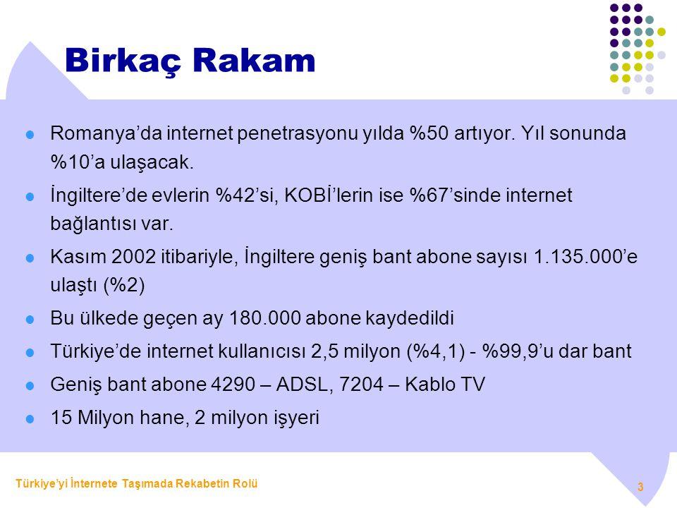 Türkiye'yi İnternete Taşımada Rekabetin Rolü 3 Birkaç Rakam  Romanya'da internet penetrasyonu yılda %50 artıyor. Yıl sonunda %10'a ulaşacak.  İngilt