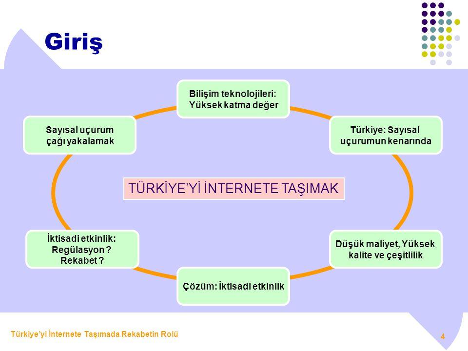 Türkiye'yi İnternete Taşımada Rekabetin Rolü 4 Giriş TÜRKİYE'Yİ İNTERNETE TAŞIMAK Sayısal uçurum çağı yakalamak Bilişim teknolojileri: Yüksek katma de