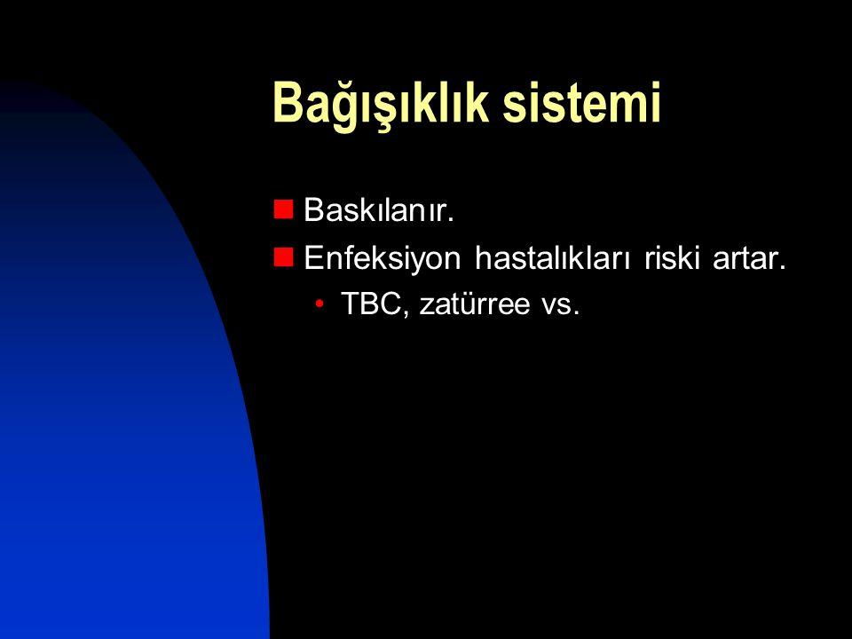 Bağışıklık sistemi  Baskılanır.  Enfeksiyon hastalıkları riski artar. •TBC, zatürree vs.